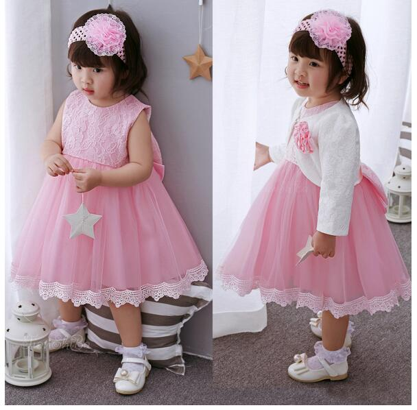 Baby Girls Pageant Formal Dresses 2017 Baptism Bow Lace Cute Infant Girls Princess tutu Dress Kids Birthday Party Dresses Pink baby girls pageant formal dresses 2017 baptism bow lace cute infant girls princess tutu dress kids birthday party dresses pink