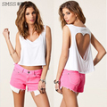 New 2014 women clothing crop top heart shape hollow out sleeveless t shirt female fashion tank top black white color camisole