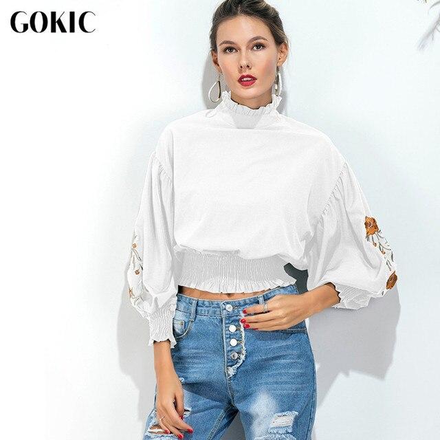 d0d9af7b56bea GOKIC Vintage Cuello Alto camisa Blusas Mujer Nueva floral bordado manga  Farol Otoño Mujer blusa blanca