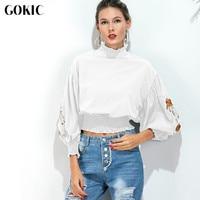 GOKIC Vintage High Neck Shirt Blouses Women New Floral Embroidery Lantern Sleeve Female Autumn White Blouse