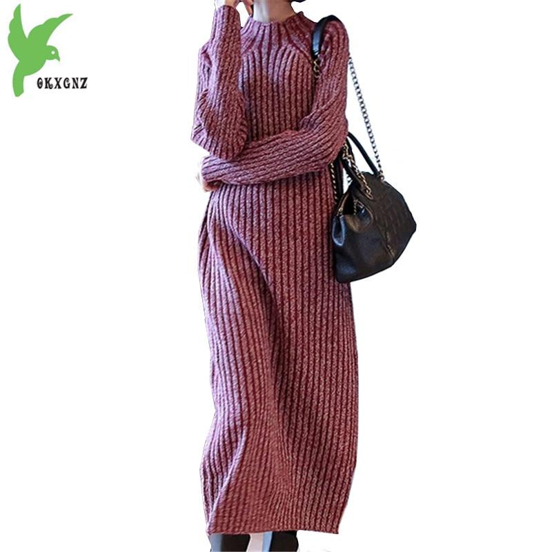 Boutique Women Autumn Knit Dress Pullover Sweater Lengthen Dress New Winter thick Large size Loose Bottom shirt Dress OKXGNZ1166