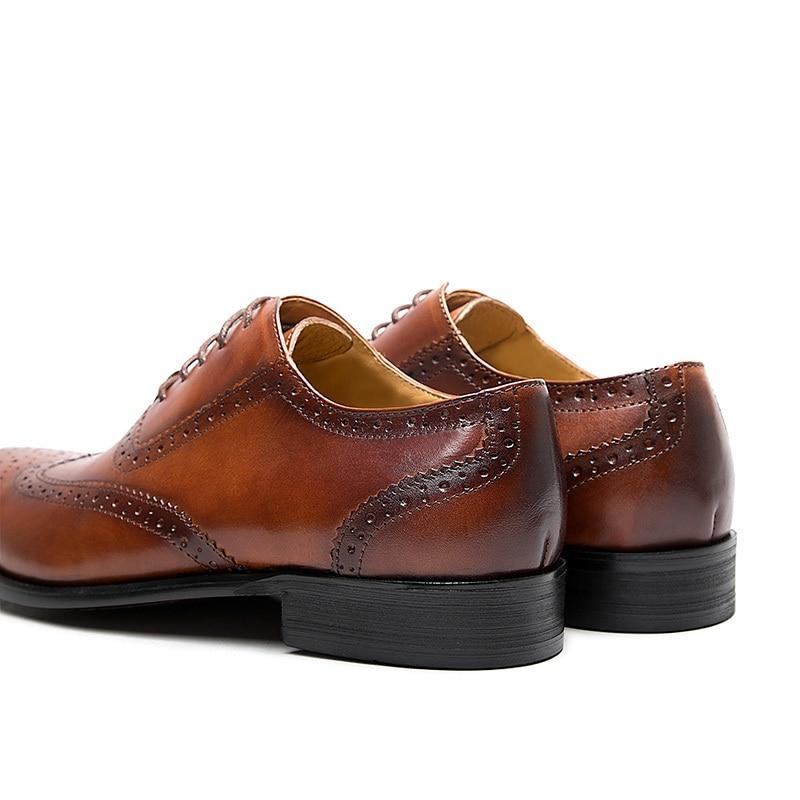 KARRUCCI oxford patine marron noir brogues robe chaussure en