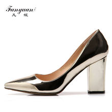 Fanyuan Stylish Pointed Toe Pumps Women Shoes Thick High Heels 8.5 cm PU  Leather 2017 Spring 102982ac4bc0