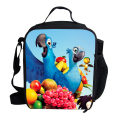 Portable Cooler Lunch Bag For Children RIO Blu and Jewel Scarlet Macaw Lunch Bag Thermal Insulated For Kids Boys Girls School