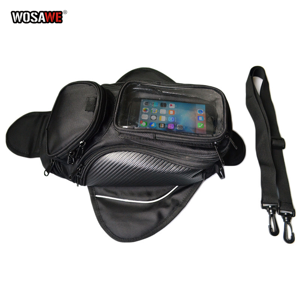 WOSAWE Motorcycle Tank Bag magnetic Oil Fuel Tank Bag Motorbike Tail Bike Saddle Bag Motorcycle Bag Big Screen For phone / GPS-in Tank Bags from Automobiles & Motorcycles