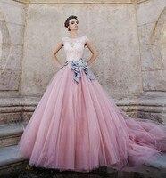 Vestido De Noiva Bridal Togi Tulle Długi Kolor Vintage Różowa Suknia Ślubna Koronkowa Suknia Balowa Puffy Rainbow Suknie Ślubne 2016