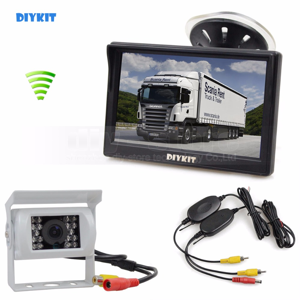 DIYKIT Wireless Waterproof Color CCD Reverse Backup Car Truck Camera IR Night Vision + 5 inch LCD Display Rear View Car Monitor