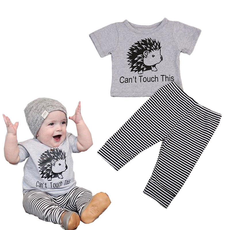 Pudcoco Summer Baby Kids Clothes Set Cute Baby Boy Girl can't touch this Print T-shirt Tops+Striped Pants 2pcs Outfits 0-18M new 2017 aint a woman alive that could take my mama s place black baby girl boy kids minions clothes t shirt tops blusas mujer