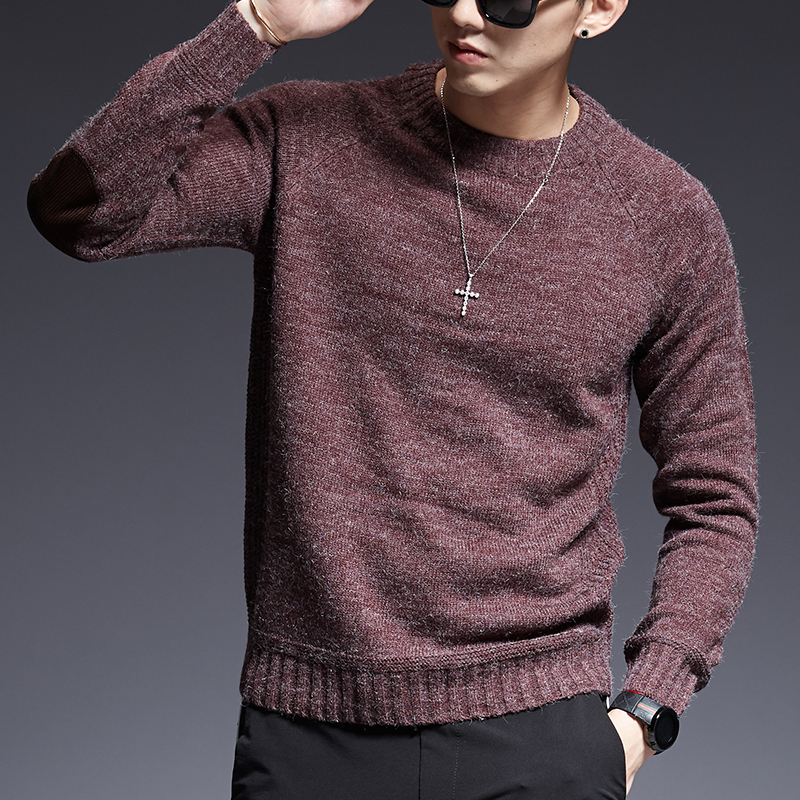 2019 New Fashion Brand Sweater For Mens O-Neck Slim Fit Jumpers Knitting Solid Color Autumn Korean Style Casual Mens Clothes