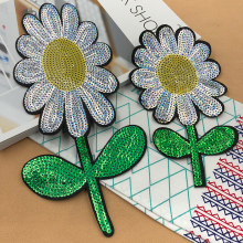 JOD Large Sequin Flower Patches for Clothes Decorative Embroidery Patch Applique Sunflower Stickers Sewing Applications Badges @