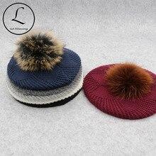 GZHILOVINGL 冬の女性の毛皮ボールポンポン Poms 冬のベレー帽帽子女性ガールのニットビーニー帽子厚い女性だらしないビーニー