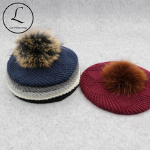GZHILOVINGL Winter Female Fur Ball Pom Poms Winter beret Hat For Women Girls Knitted Beanie Hats Thick Women Slouchy Beanies