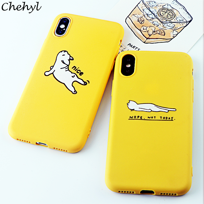 Fashion Phone Cases for iPhone X XS MAX XR 6 s 7 8 Plus Case Cute Animal Dog Soft Silicone Fitted Cell Phone Covers Accessories