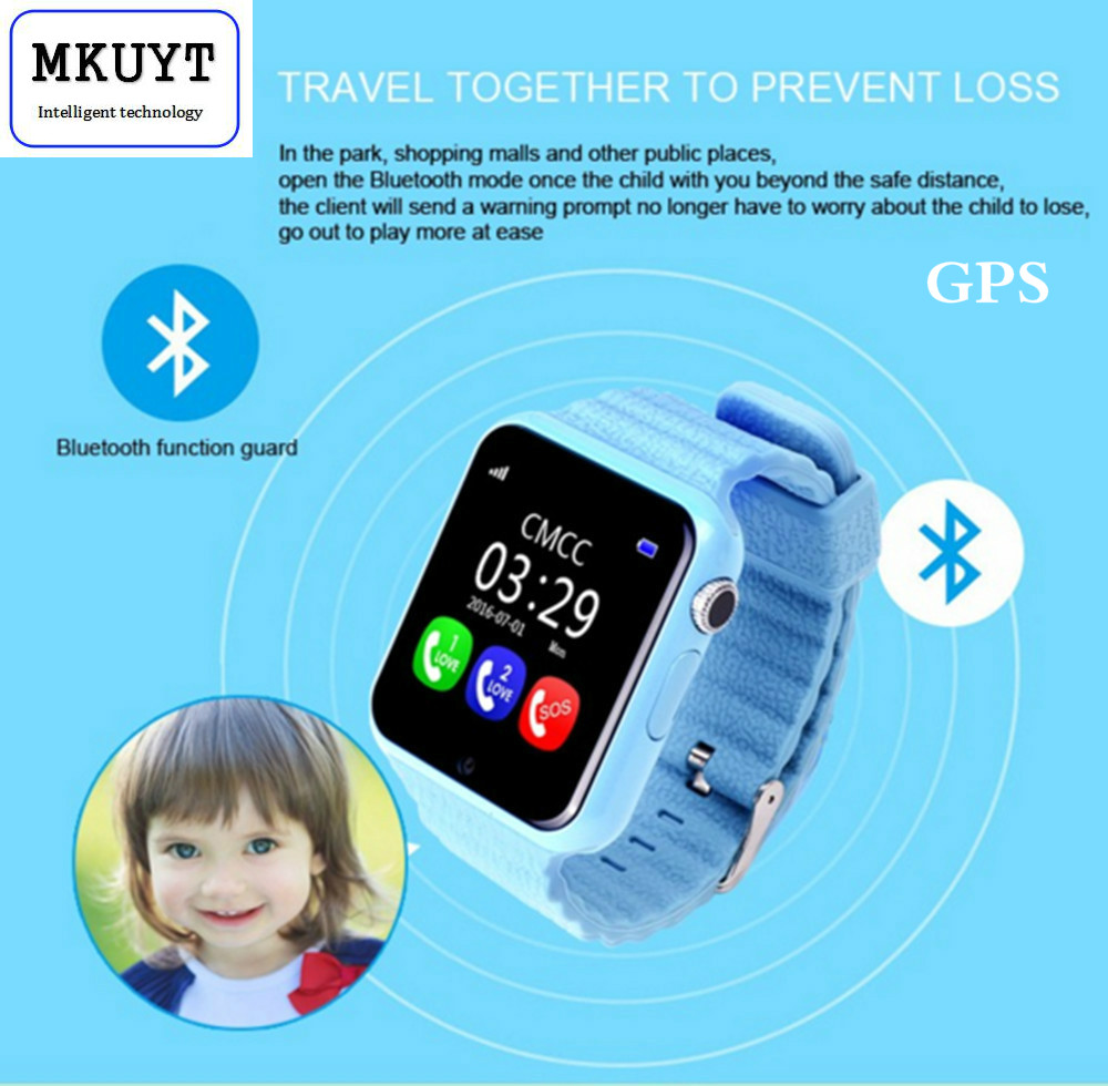 GPS smart watch kids watch V7k with camera/facebook SOS Call Location DevicerTra