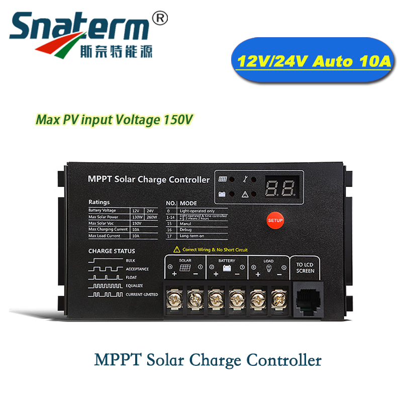 10A MPPT Solar Panel Battery charger Waterproof MPPT DC 12V 24V 10A Solar PV Charger Controller Regulator PV input Voltage 150V-in Solar Controllers from Home Improvement    1