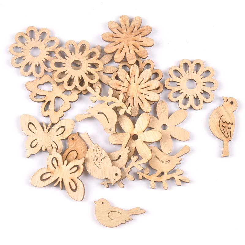 50pcs 22-30mm Natural Wood Crafts Butterflies And Birds DIY Scrapbooking For Wooden Ornament Home Decoration M2504