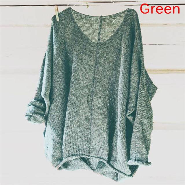 e53bac3e72c520 Woman Sweater Knitting Pullovers Long Sleeve V Neck High Low Pullover  Casual Loose Knit Sweaters Female