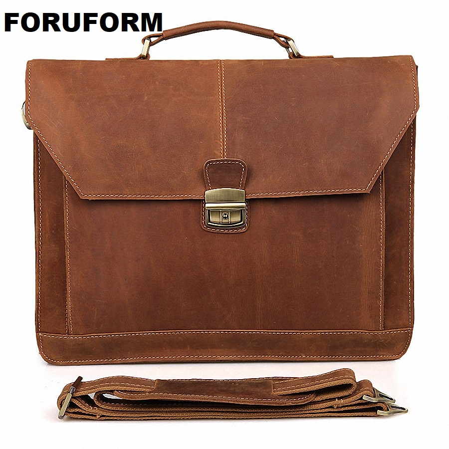 Vintage Crazy Horse Leather Men's Briefcase Laptop Bag Business Bag Genuine Leather Briefcase Men Shoulder CrossbodyBag LI-660