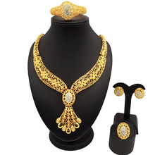 wedding accessory sets jewelry gold african big  24k wholesale necklace bracelet earring