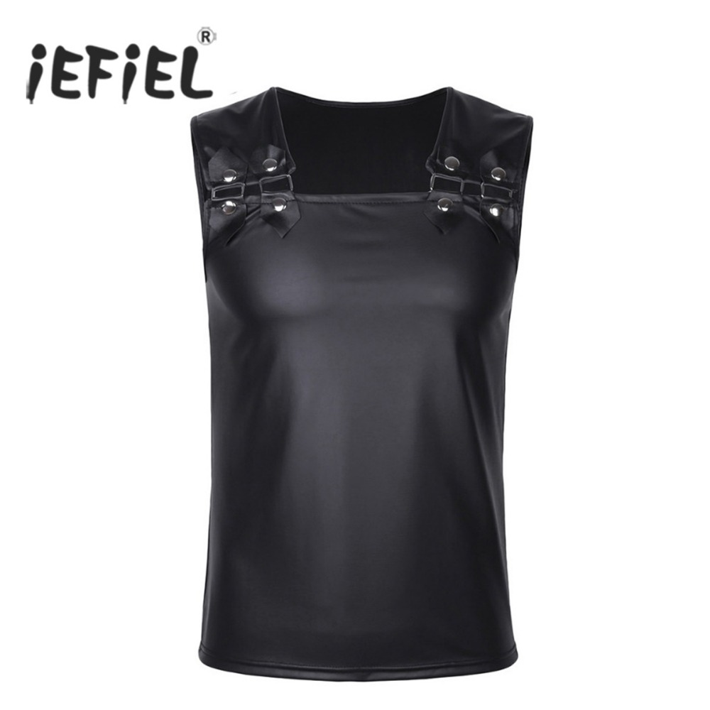 iEFiEL Mens Soft Faux Leather Muscle Vest Undershirt   Tank     Top   Sleeveless Clubwear Costume Party Clothing for Stage Performance