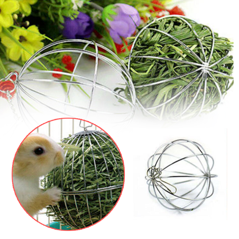 1Pc Stainless Steel Round Sphere Feed Dispenser Ball Hanging Hay Ball Shape Grass Ball Guinea Pig