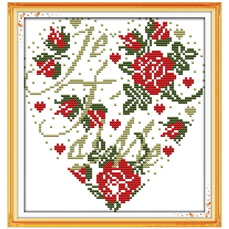 Вышивка сердце розы