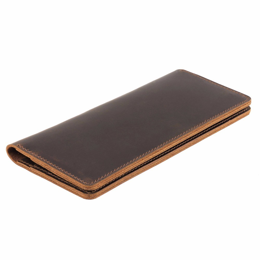 Moterm Crazy Horse Leather Long Wallets Genuine Leather Bifold Men Wallet Vintage Male Purse carteira feminina Free shipping