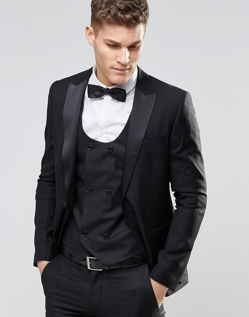 New Black Men's Three-piece Suit (coat + Pants + Vest) Men's Suit Wedding New Lang Tuxedo Ball Best Dress