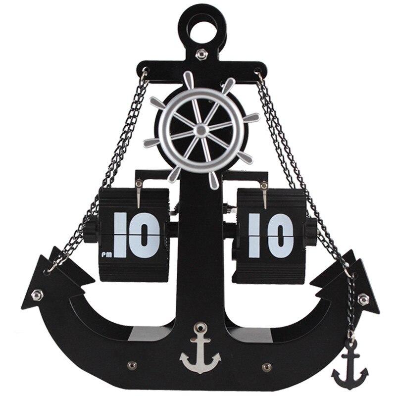 Horloge de Table horloge à bascule Pages automatiques engrenage en métal bureau Transport numéro de navire affichage Quartz horloge murale décoration de la maison horloges de bureau