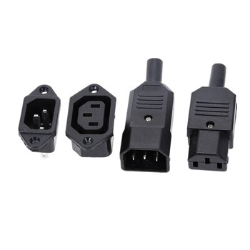 IEC320 C14 C13 Electrical AC Socket 3 Female Male Inlet Plug Connector 3pin Socket Mount 1pc iec320 c14 ac power cord inlet socket receptacle with rocker switch 250v 15a sa172 p0 3