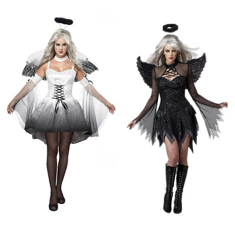 New Women Fantasia Halloween Costumes Fantasy Cosplay Party Fancy Dress Adult Fallen Angel Costume With Angel Wings