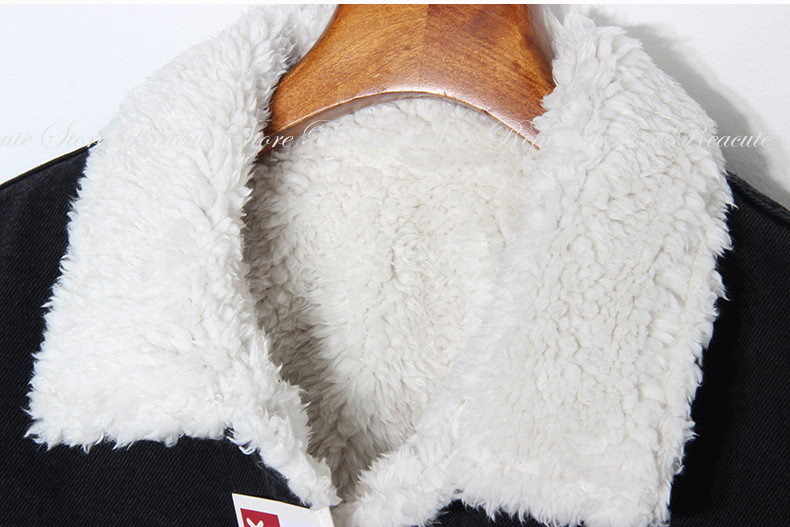 De Flocage Rue Liner Court Haute Nouveaux Noir Épais Laine Demin Col Hiver Lâche Fourrure Manteaux 2018 Agneau bleu Jeans Vestes F0Cgwxwq