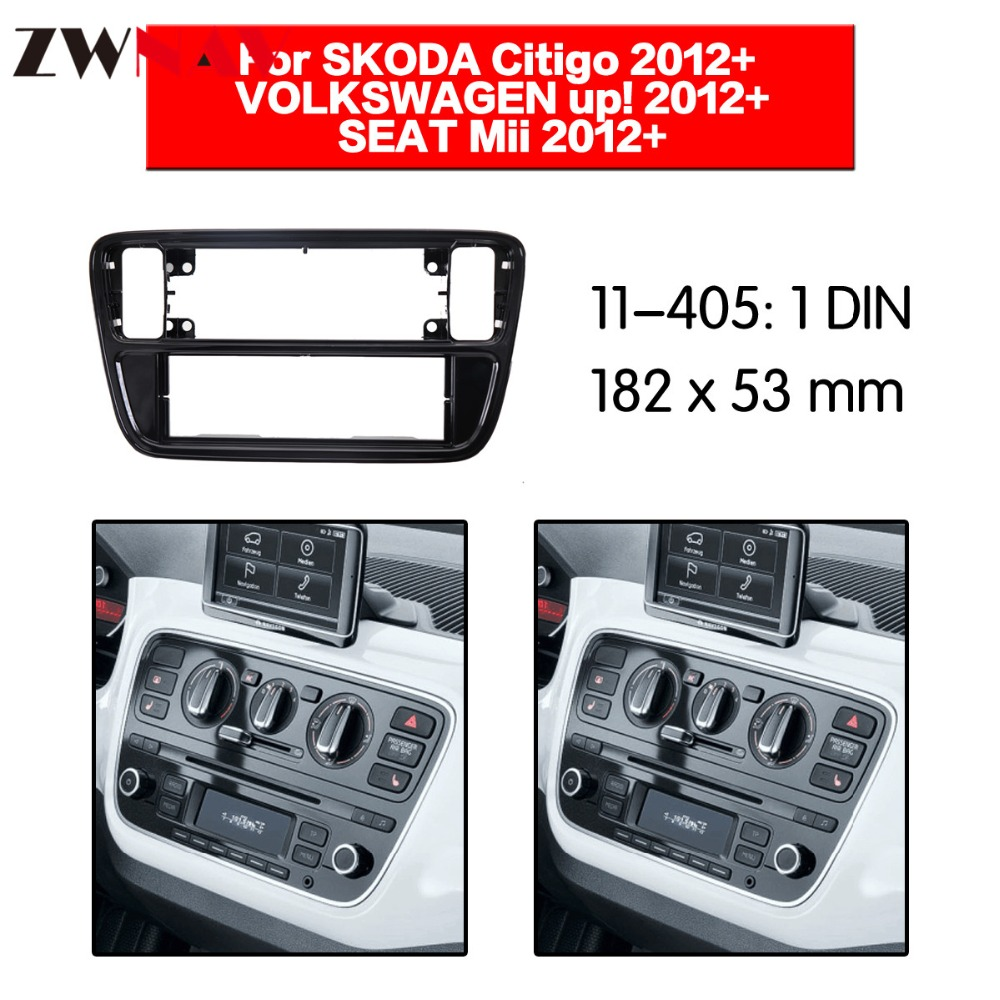 Cadre de lecteur DVD de voiture pour SKODA Citigo 2012 +/VOLKSWAGEN up 2012 + Auto AC noir LHD RHD Auto Radio multimédia NAVI fascia