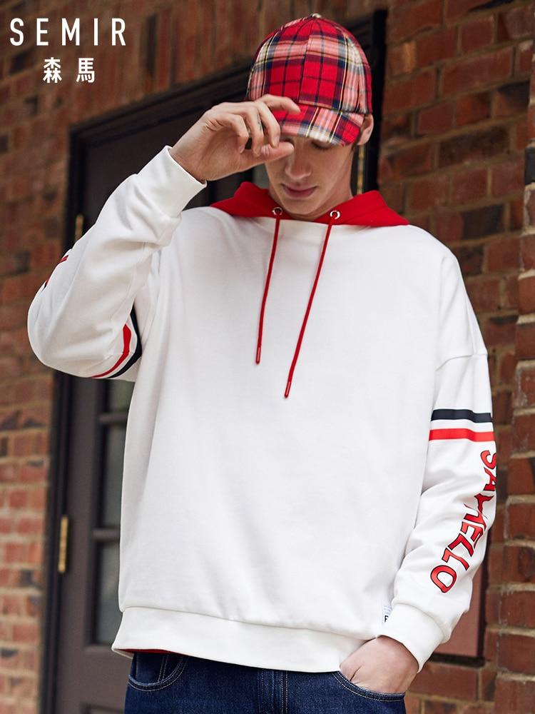 SEMIR Men Dropped Shoulder Sweatshirt Soft Cotton Pullover Sweatshirt Men's Printed Sport Sweatshirt With Stripe At Sleeve