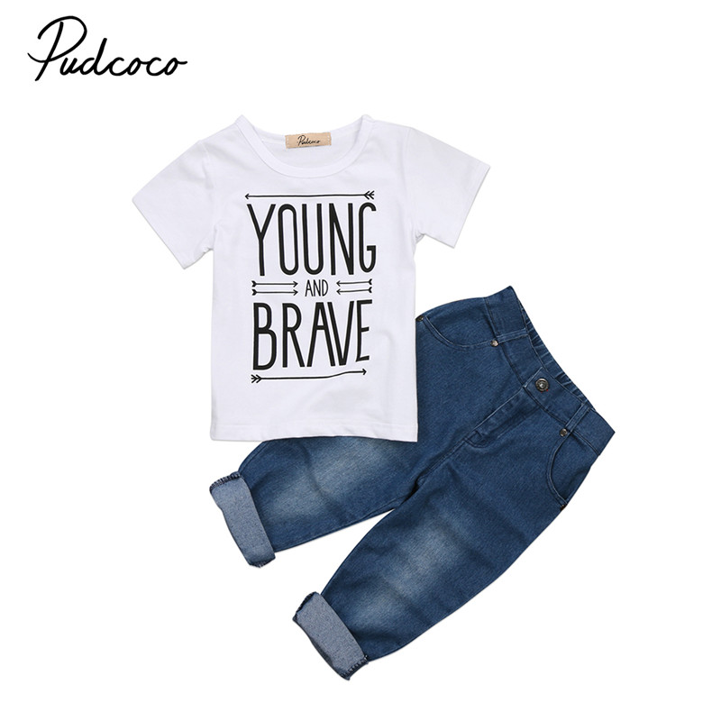 Newborn Toddler Kid Baby Boy Clothes Set Summer Short Sleeve T Shirts Tee Tops Denim Jeans Pants Boys Clothing Outfit 2PCs