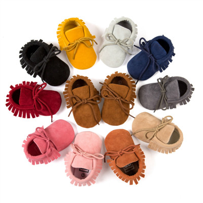 Solid PU Suede Leather Newborn Baby Boy Girl Moccasins Bebe Fringe Soft Soled Non-slip Lace-up Baby Crib Shoe Dropshipping