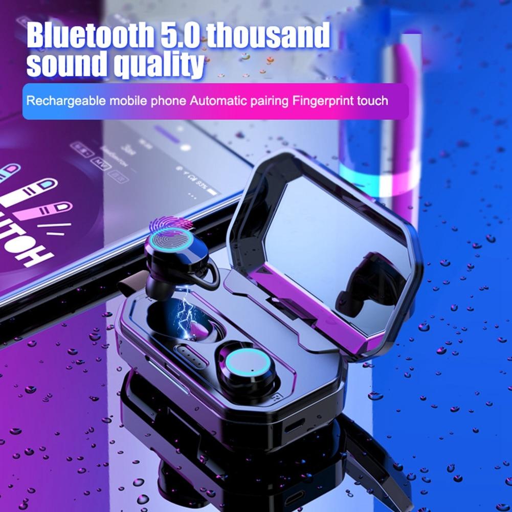 TWS 5.0 Bluetooth Earphone Mini Wireless Headphones 3000mAh Big Battery Smart Breathing Light Touch Control Bluetooth Headset