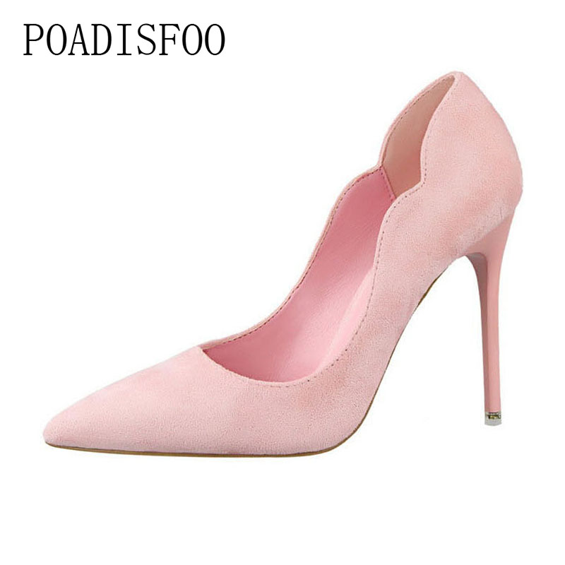 POADISFOO 2018 women pumps Sweet high-heeled Shoes Shallow Mouth Suede OL Pointy Hollow Shoes for ladies .PSDS-3168-10 bigtree spring autumn simple sweet women pumps shallow mouth suede ol pointed hollow 10 5 cm fine high heels shoes