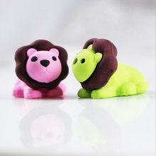 1X cute Cartoon eraser mini lion modelling children stationery gift prizes  kawaii school office supplies papelaria