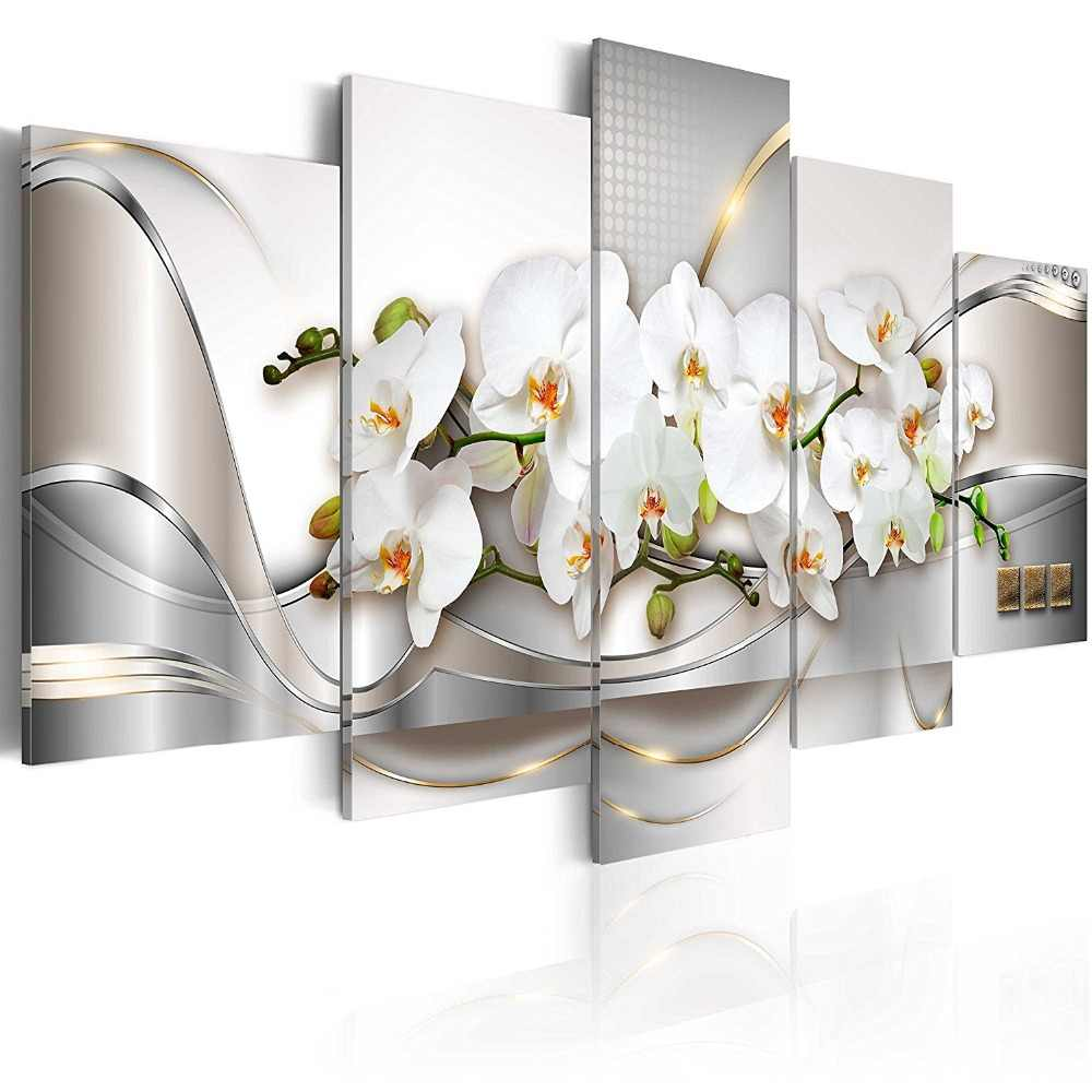 Modular Painting Home Decor Living Room 5 Pieces Flowers Orchids Pictures Prints Elegant Magnolia Canvas Poster Wall Art Framed