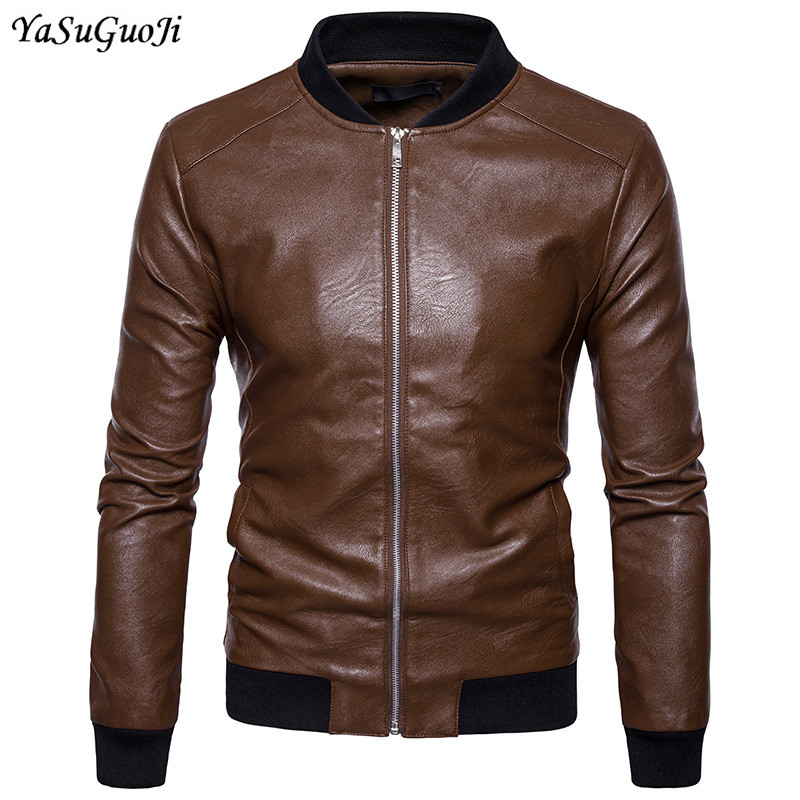 New 2018 motorcycle style fashion slim fit pure color rib stand collar pu leather jacket men mens leather jacket PY3