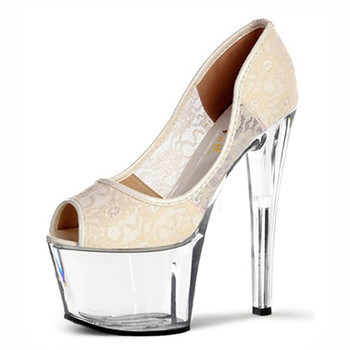 Hate sky-high heels lace fishmouth single shoes 17cm high heels and waterproof platform shoe club Dance Shoes