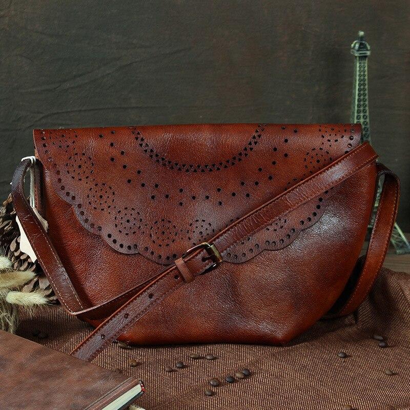 Nesitu Vintage Brown Green Genuine Leather Small Women Messenger Bags Cowhide Woman Shoulder Bags M088