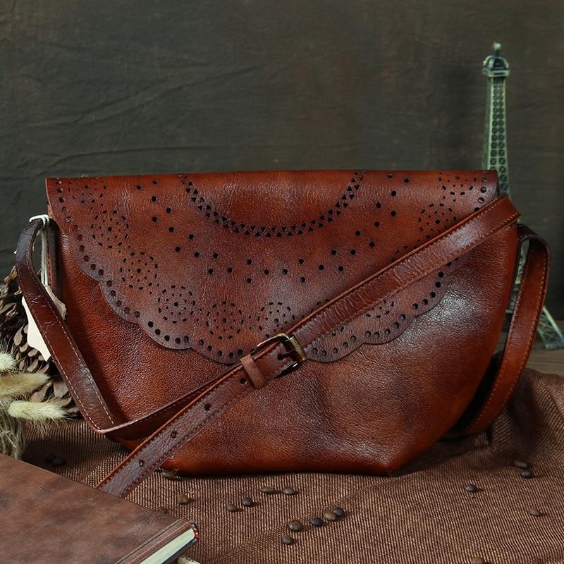 Nesitu Vintage Brown / Green Genuine Leather Small Women Messenger Bags Cowhide Woman Shoulder Bags #M088