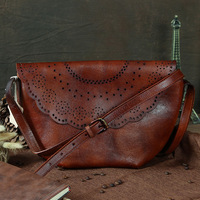 Nesitu Vintage Brown Green Genuine Leather Small Women Messenger Bags Cowhide Woman Shoulder Bags M088