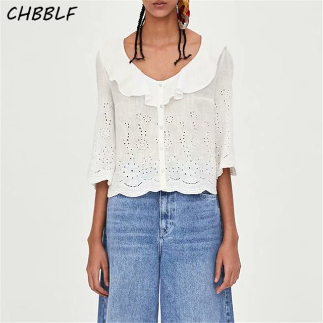 Chbblf Women Sweet Ruffled V Neck Blouse Embroidery Hollow Out