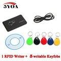 125 KHz EM4100 RFID Copiadora Escritor Duplicadora clonador Programador Lector + 5 Unids Regrabable EM4305 T5577 Keyfobs IDENTIFICACIÓN Etiquetas Card