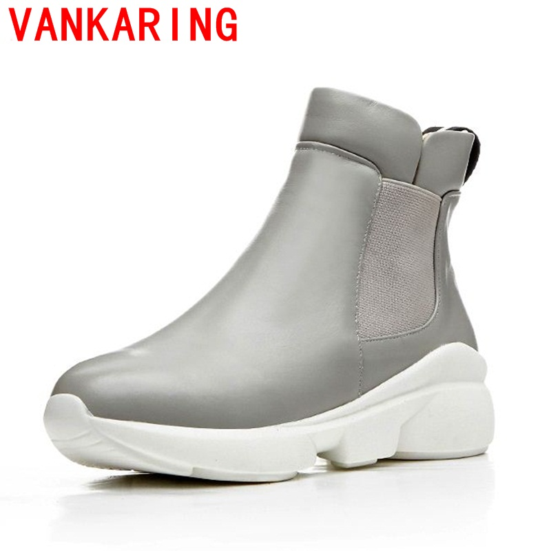 ФОТО VANKARING shoes 2017 new arrival women's round flat elastic solid color simple casual fashion boots in Europe and America Fan