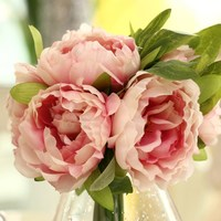 Elegant Artificial Peony Silk Flowers 5 Head Home Party Decor Wedding Decoration Flores Artificial 1xBouquet D1