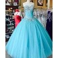 Azul 2017 vestidos de quinceañera puffy tulle del vestido de bola vestidos debutante vestido durante 15 años vestido de quinceanera sweet 16 dress cr251